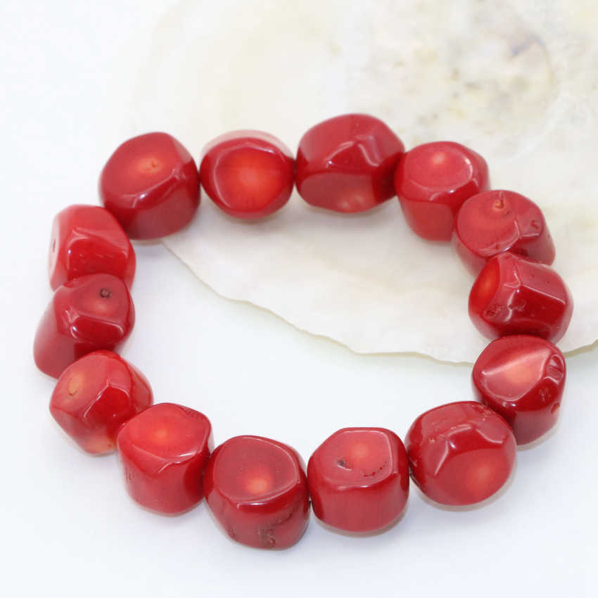 9-13mm natural red coral irregular shape beads elegant bracelets for women top quality free shipping diy jewelry 7.5inch B2705