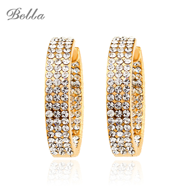 Fashion Big Round Rhinestone Hoop Earrings Elegant Simple Pierced White Gold/Gold 2 Colors For Party Fine Jewelry(E0085)