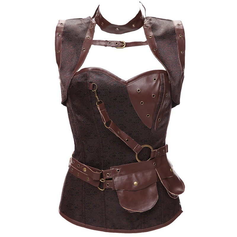 Womens Plus Size Retro Gothic Corset Spiral Steel Boned Corset Brocade Bustiers With Belt Steampunk Style Cosplay Custome