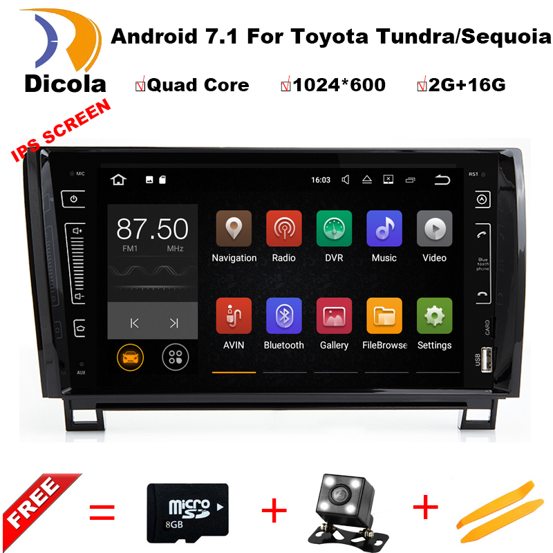 4G LTE Quad Core Android 7.1.1 2GB RAM 16GB ROM Car DVD Player for Toyota Tundra Sequoia Radio Stereo GPS Navigation system 4g sim lte quad core android 6 0 for mazda 3 mazda3 2004 2009 car dvd player non dvd gps navi radio wifi 4g bt 2gb ram 16g rom