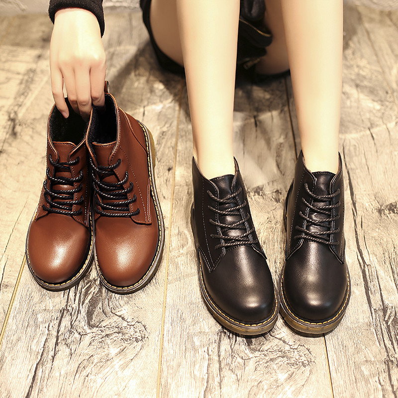 COOTELILI Ankle-Boots Flats Rubber Female Fashion Woman Lace-Up Basic for Black Shoes