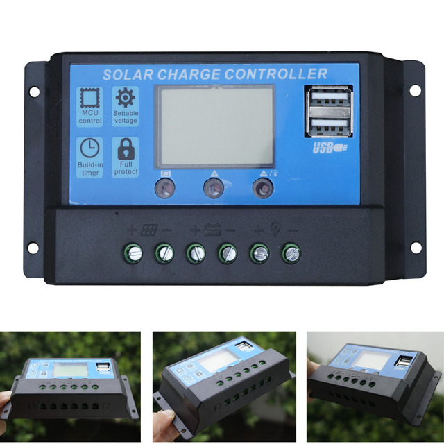 20A LCD Solar Charge Controller 12V /24V pwm Solar Panel Battery Charger Controller Regulator for Solar Home Use PV System