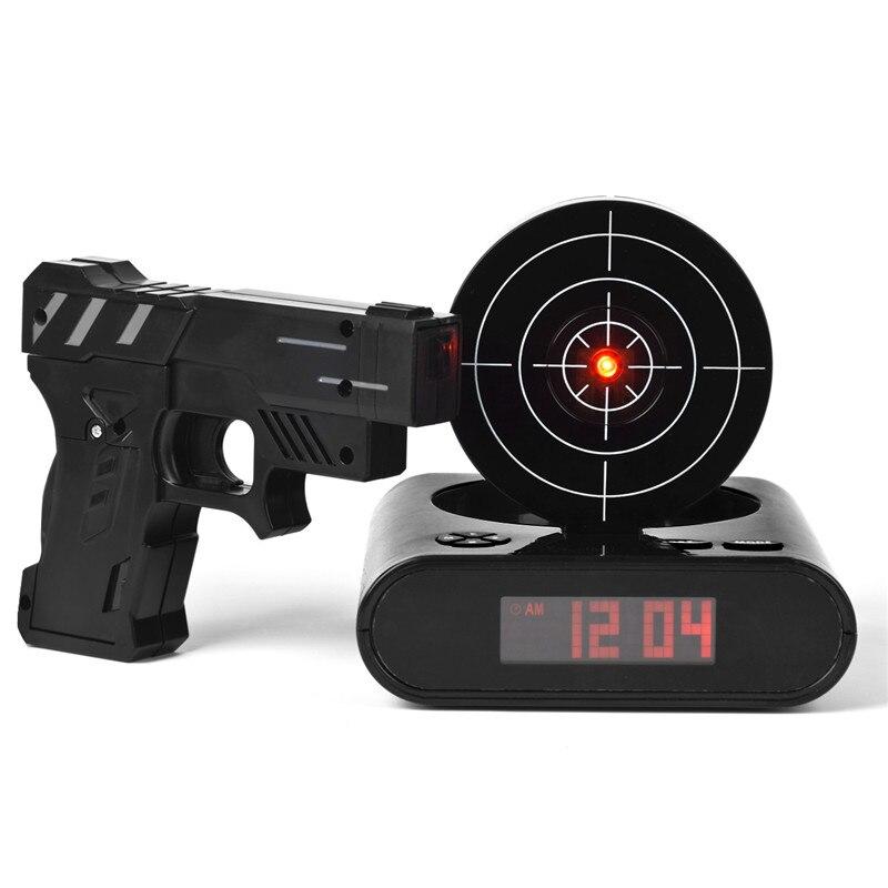 Desk Gadget Target Laser Shooting Gun Alarm Clock LCD Screen Gun Alarm Colck Target Alarm Clock