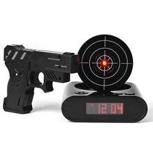 Стол Гаджет Целевая Стрельба Из Лазера Gun Будильник ЖК-Экран Gun Сигнализация Colck/Целевая Будильник