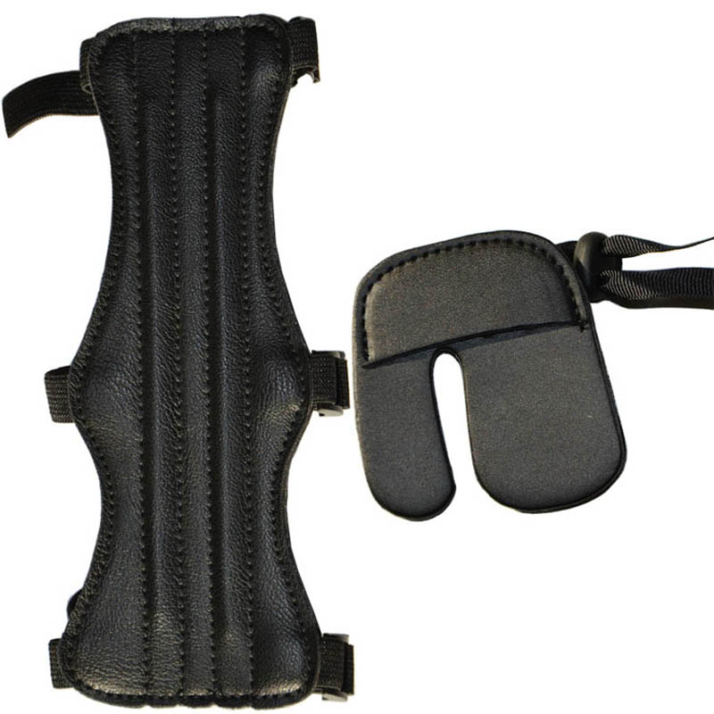 1set Archery 3 Strap Arm guard Cow Leather 1pc Finger Guard Glove Tab Archery bow Protective Set