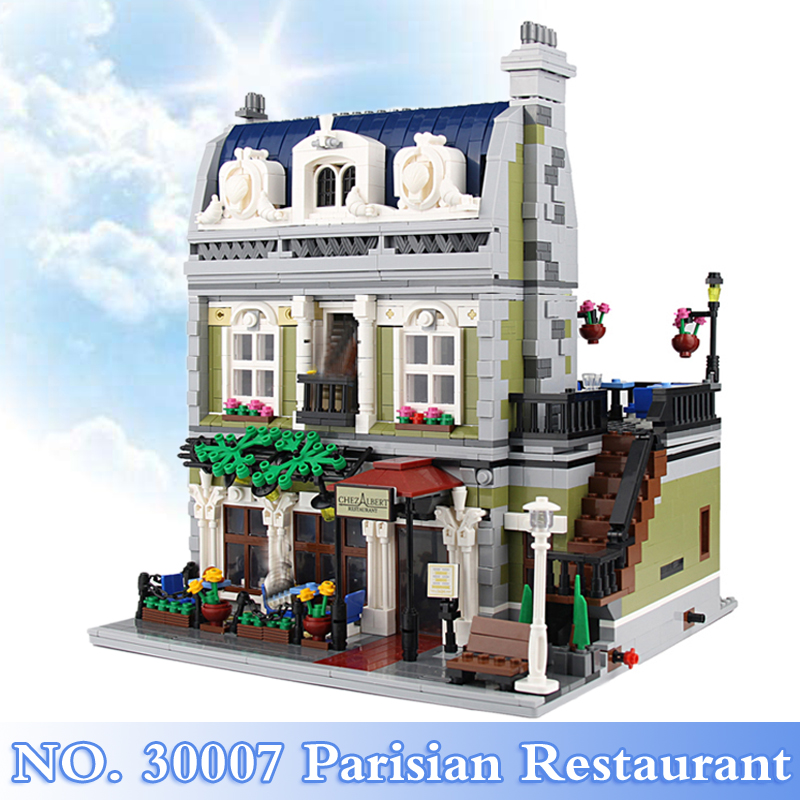 2018 New City Street Series 2469Pcs Parisian Restaurant Figures Building Blocks Bricks Set Children Toys Model Compatible 10243 dhl new 2418pcs lepin 15010 city street parisian restaurant model building blocks bricks intelligence toys compatible with 10243
