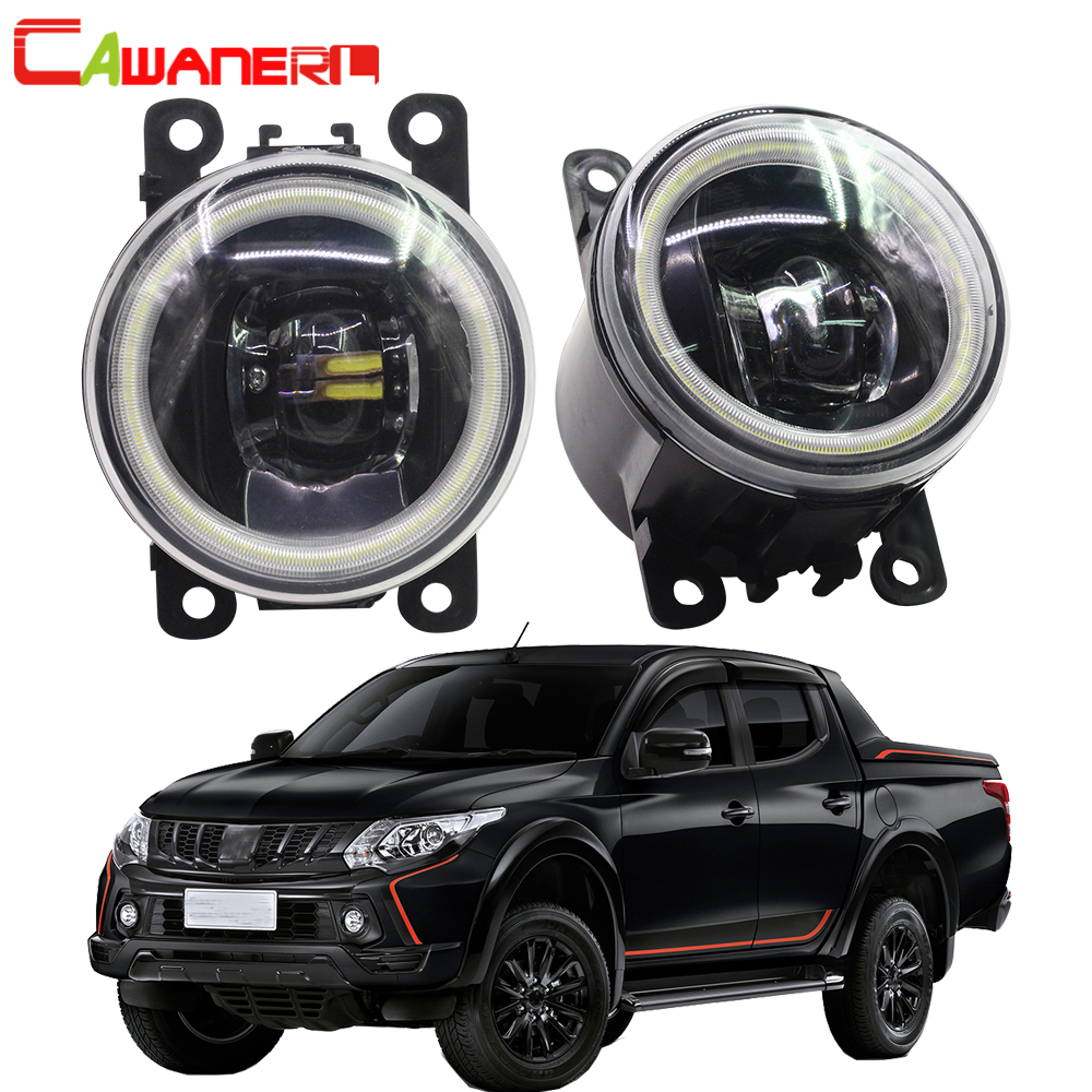 Cawanerl 2 X Car 4000LM LED Bulb Front Fog Light Angel Eye DRL Daytime Running Light 12V For Mitsubishi Triton ML MN 2006-2015 Toyota Land Cruiser