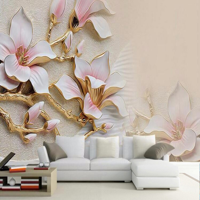 3D Wallpaper HD Embossed Magnolia Flowers Photo Mural Living Room Home Decor Wallpaper Modern Abstract Papel De Parede Floral 3D large painting home decor relief green flowers hotel background modern mural for living room murales de pared 3d wallpaper