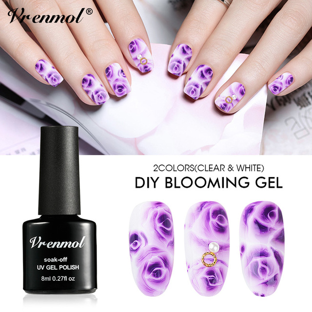 Vrenmol 8ml Blossom Nail Polish Nail Art DIY Design Blooming Effect ...