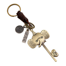 Copper plating layer Elephant keychain bag pendant Genuine Leather Cut out Car key chain ring holder two tone cut out chain bag