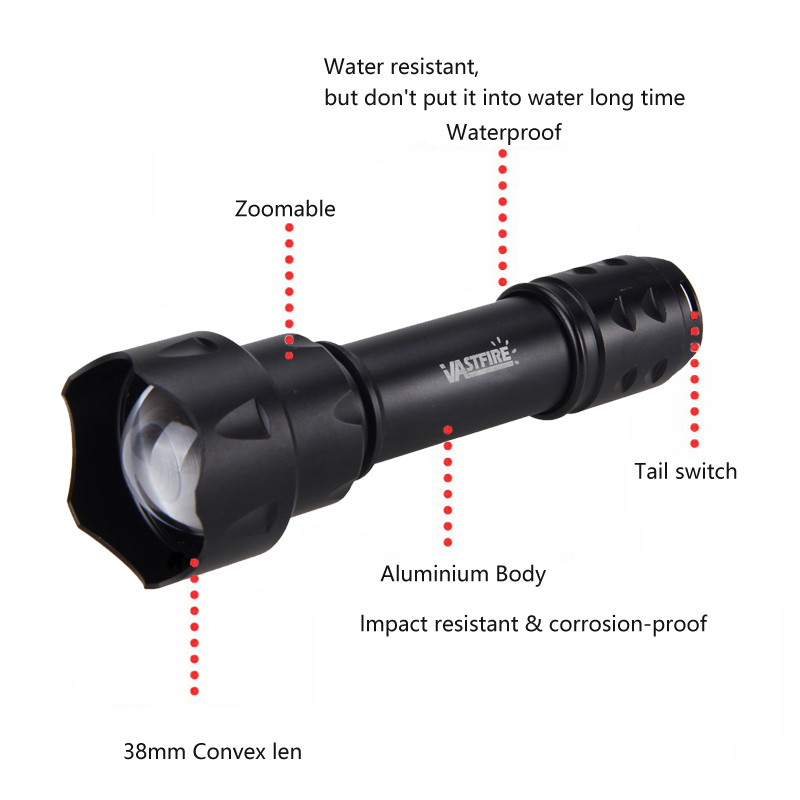 Купить с кэшбэком T20 R5 Hunting Flashlight 1 Mode 67mm Lens Zoomable Focus Red/Green Light LED Tactical flashlight Torch For Camping,hunting