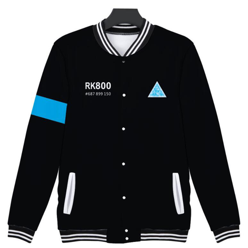 Hip Hop Fashion Brand Clothing detroit: become human 3D Men/Women Hoodie Sweatshirts Streetwear zip up Baseball Uniform Jacket