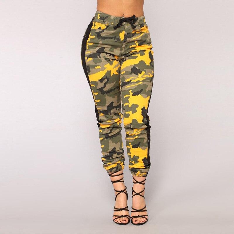 S-3XL Plus Size Camouflage   Pants   High Waist Joggers Women Army Harem Camo   Pants   Streetwear Punk Pink Cargo   Pants     Capris   Trousers
