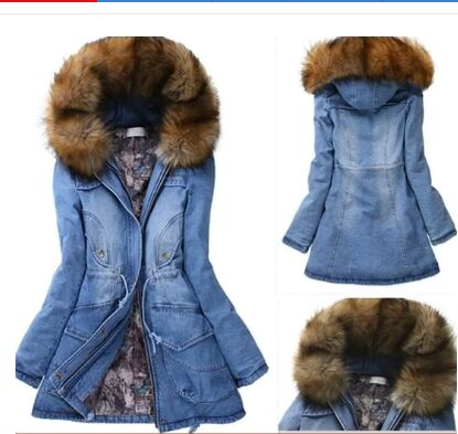 Popular Denim Jacket Fur Hood-Buy Cheap Denim Jacket Fur Hood lots ...