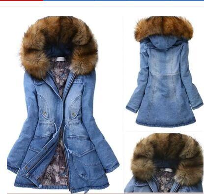 Popular Jeans Coat Fur Hooded Parka Jacket Denim-Buy Cheap Jeans ...