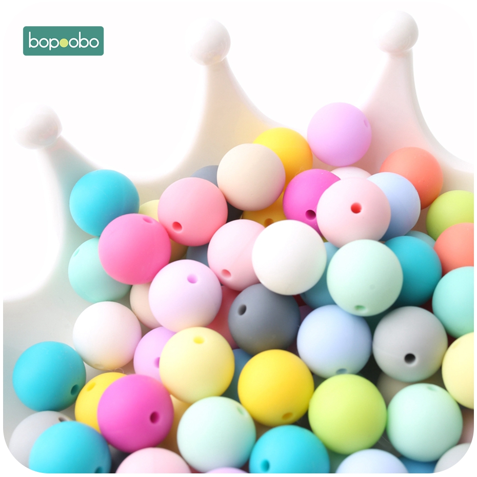 Bopoobo 100pcs Baby Nursing Accessories Silicone Beads Food Grade Teether DIY Jewelry Bracelet Crib Toy Baby Teether 12mm