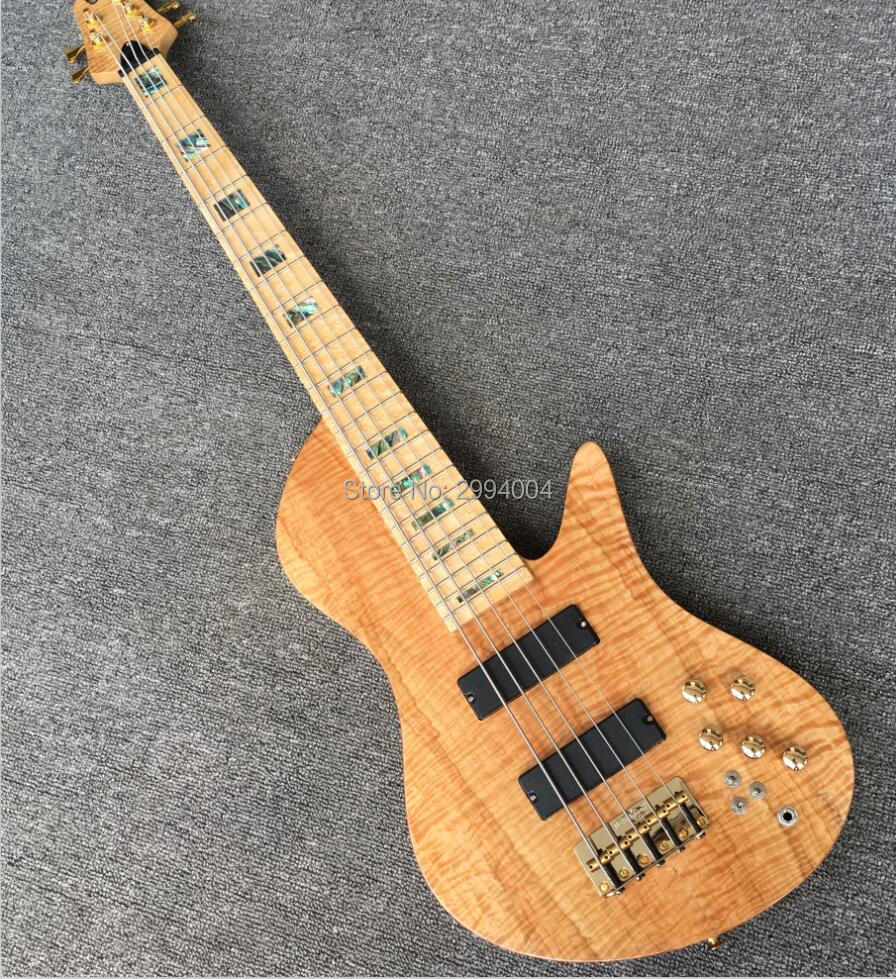 high quality 5 string bass butterfly birds eye maple fingerboard golden parts real photos. Black Bedroom Furniture Sets. Home Design Ideas