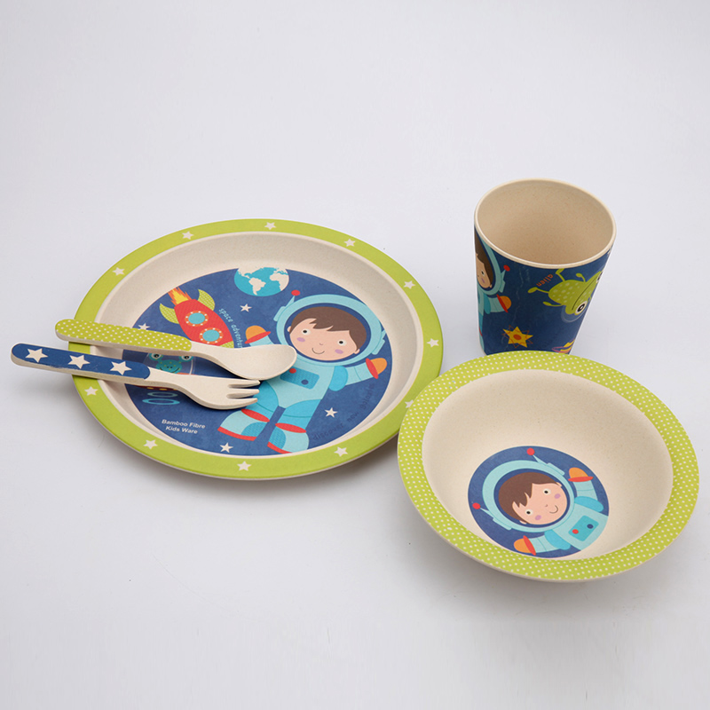 5pcs / set Baby Feeding Set dengan Bowl Plate Forks Spoon Cup Dinnerware Set Bamboo Fiber Kids Tableware Dish BPA free Eco Friendly