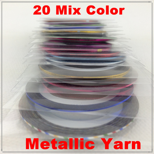 [Retail]  20 Mix Color Rolls Striping Tape Metallic Yarn Line Nail Art Decoration Sticker + Free Shippin