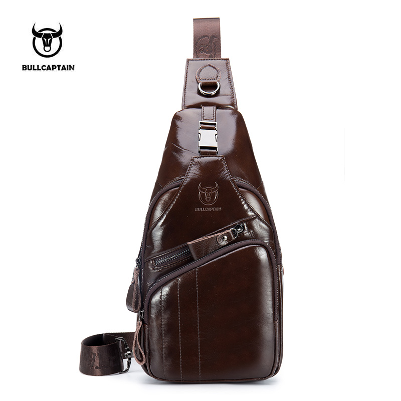 e9b1c3442382 BULLCAPTAIN 2018 Натуральная кожа Мужская сумка повседневная сумка через  плечо модная мужская сумка на груди мужская
