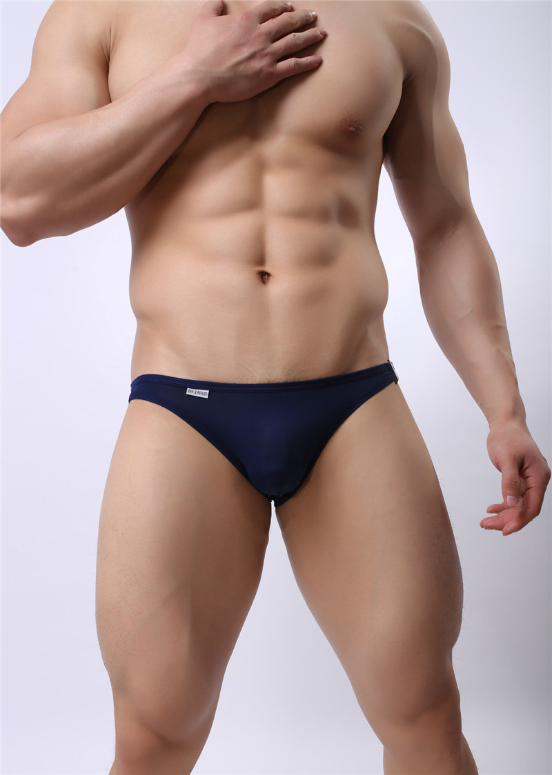Mens Nylon Slip Small Mesh Breathable Briefs Low Rise Sexy Fashion Lock Buckle Men Bikini Underwear Briefs Brave Person 9