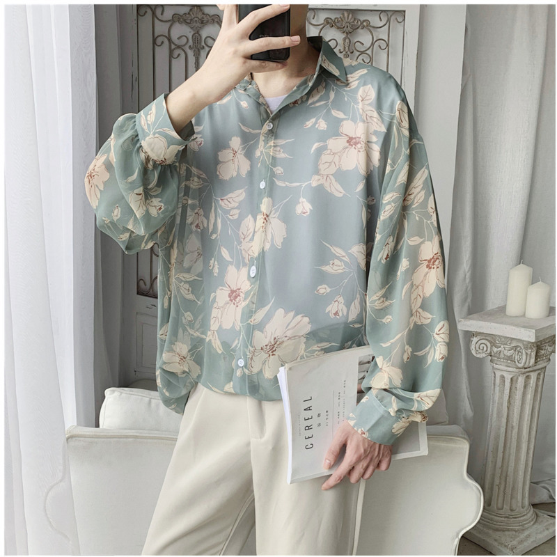 2019 Spring And Autumn New Retro Printing Thin Loose Fashion Casual Long-sleeved Flower Shirt Male Tide Black / Green M-XL
