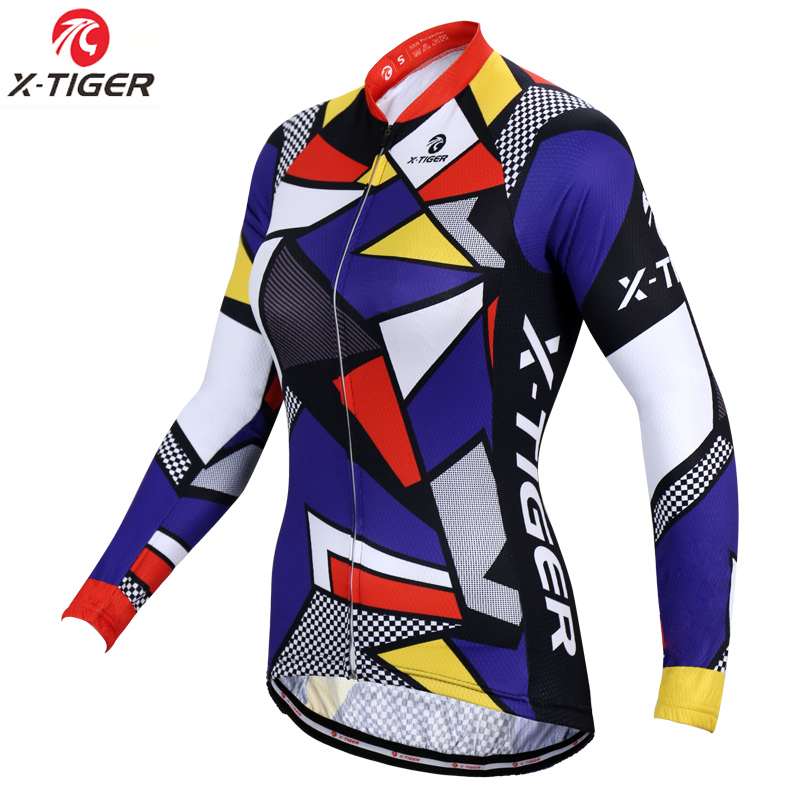X-Tiger Woman 100% Polyester Autumn Cycling Sportswear MTB Bike Wear Bicycle Clothes Cycling Jersey Uniform Ropa De Ciclismo