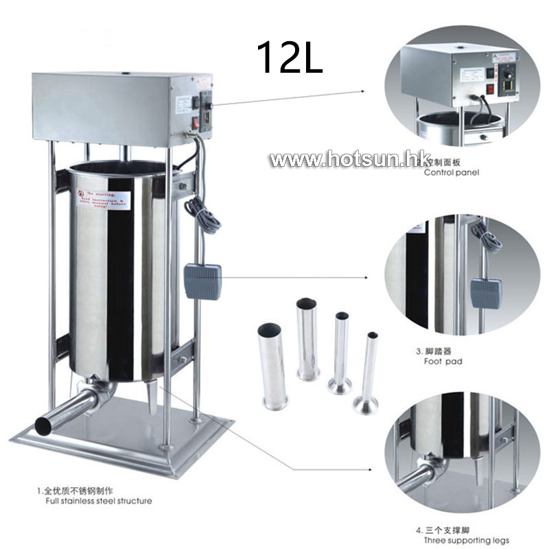 Free Shipping Heavy Duty Commercial Electric 110v 220v 12L Auto Sausage Stuffer Sausage Salami Maker Sausage Filler Machine