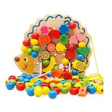 ABWE Best Sale MWZ Wooden Fruits and Vegetables Lacing & Stringing Beads Toys with Hedgehog Board for Above 3 Years Old Kids