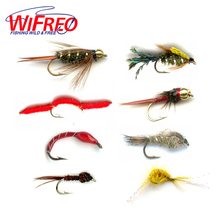 Wifreo 6PCS Trout Fly Fishing Flies Nymph Chironomids Buzzers Worm Scud Pheasant Tail Stonefly Hare's Ear Insect Lures Fish Fly