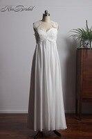 Vestido de Noiva sexy espalda abierta Vestidos de novia verano estilo gasa romántica playa vestidos de novia barato