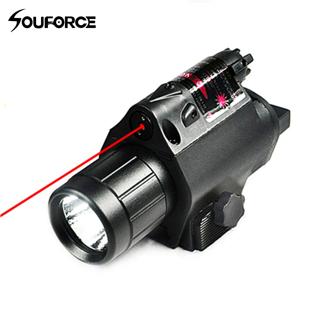 New Tactical LED Flashlight and Red Laser Sight Combo with Remote Handle and 20mm Mount For Glock 17 19 and Hunting Rifles D element ex276 peq15 battery case military high precision red dot laser integrated with led flashlight red laser and ir lens