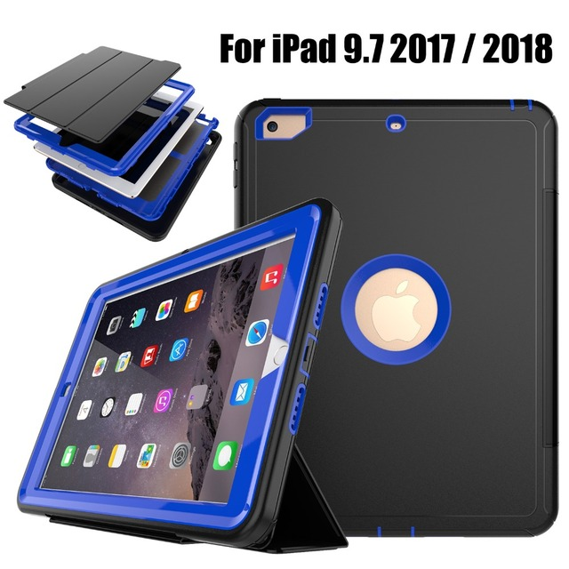 For iPad 9.7 New 2017 2018 A1822 A1823 Heavy Duty Shockproof Hybrid Rubber Rugged Hard Impact Protective Case Cover