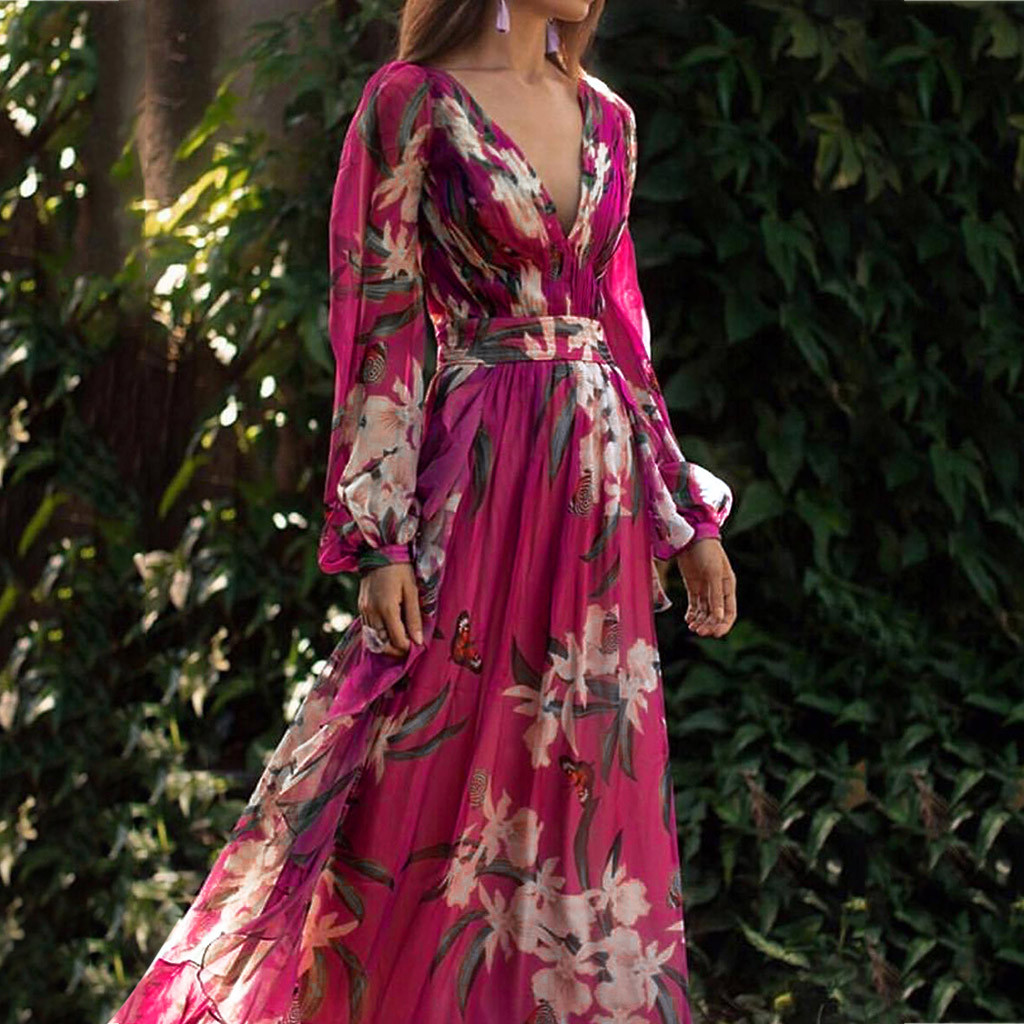 Embroidery Women Dress Fashion Bohemian Floral Printed Dresses Enchanting V Neck Long Sleeve Pleated Chiffon Princess Dress Saia