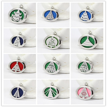 5pcs More than 50 styles magnetic 316L stainless steel aromatherapy pendants 30mm diffuser locket necklace
