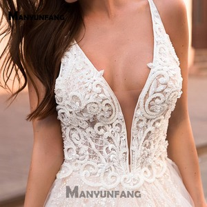 Image 3 - Brilham Tulle Com Lace Vestido de Noiva Praia V Profundo Laço No Pescoço Vestido De Novia Desmontable Contas de Luxo Vestidos De Noiva de Peru