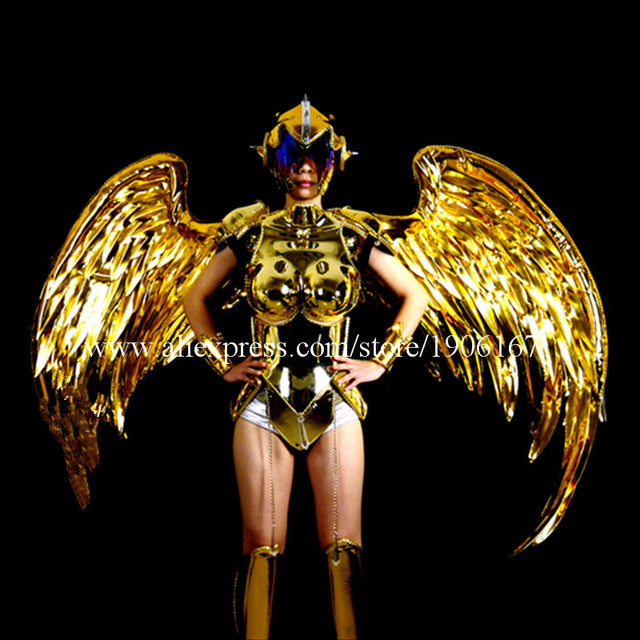 Fashion Gold Plated Catwalk Shows Costumes Wings Suit Clothing Party Singer DJ KTV Bar Performance Dance Dress Clothes