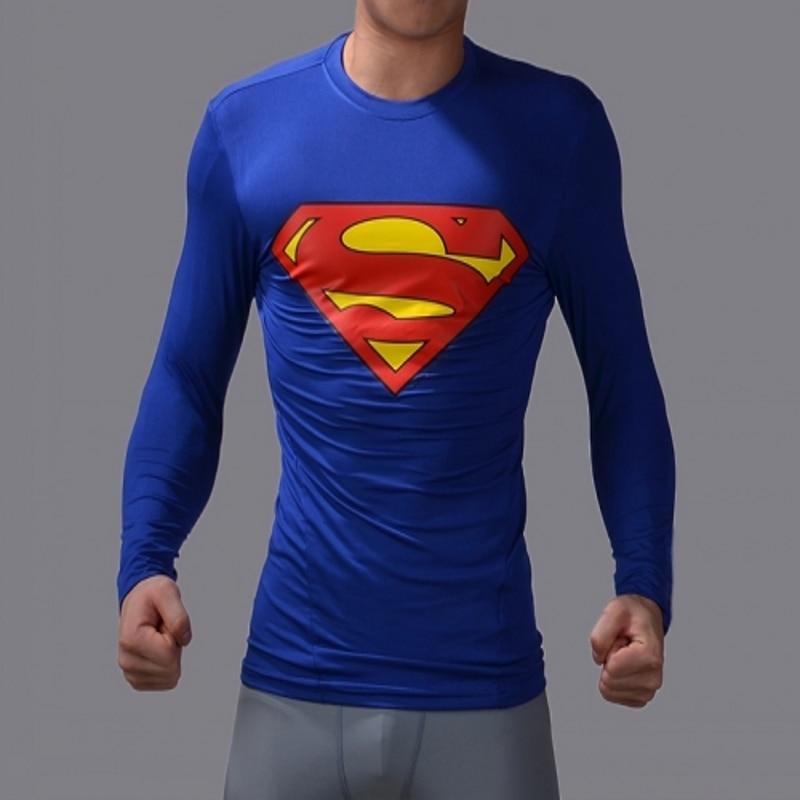 High Elastic Fitness Tights Compression Men T-Shirts SupermanSpider ManCaptain American Tight Shirts Elastic Men long T Shirt