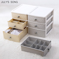 JULY'S SONG Plastic Underwear Storage Box Drawer Organizer Sock Container Closet Wardrobe Organizer Desktop Sundry Storage Case