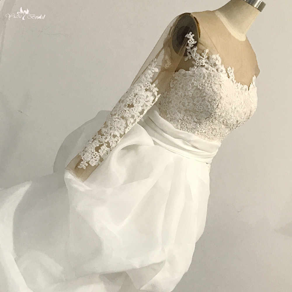 aa0076f94be ... RSW1477 Long Sleeve 2 In 1 Short Wedding Dress With Detachable Train ...