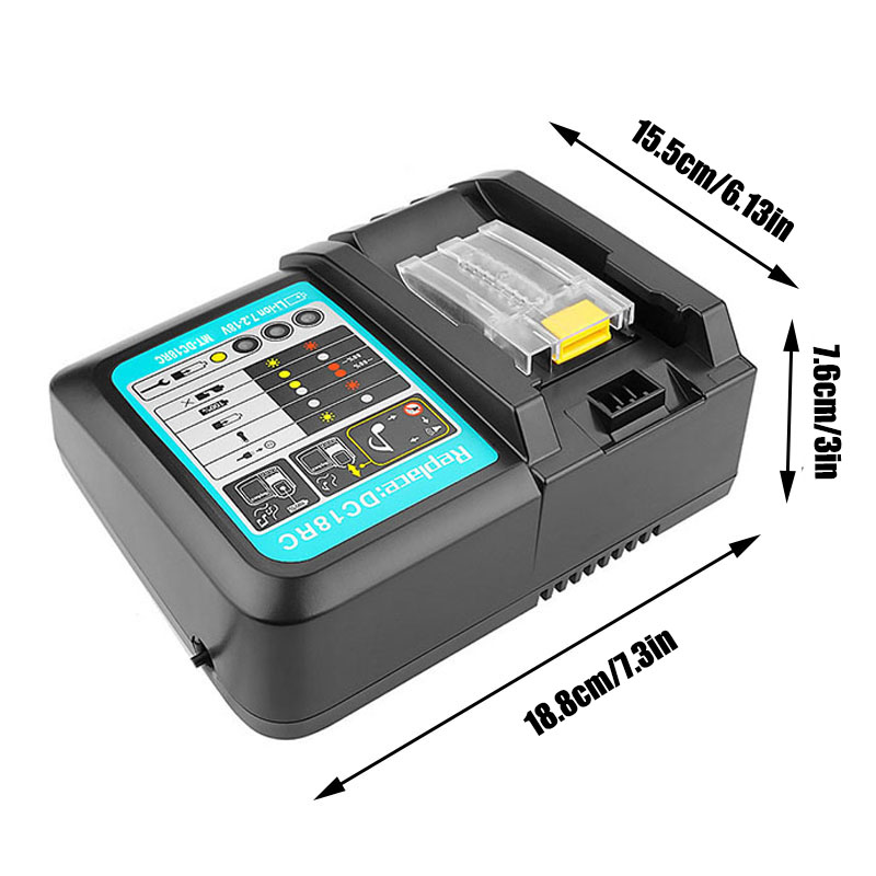 DC18RCT Li-ion Battery Charger 3A Charging Current for <font><b>Makita</b></font> 14.4V <font><b>18V</b></font> BL1830 Bl1430 DC18RC DC18RA Power tool and 1 USB <font><b>Adapter</b></font> image