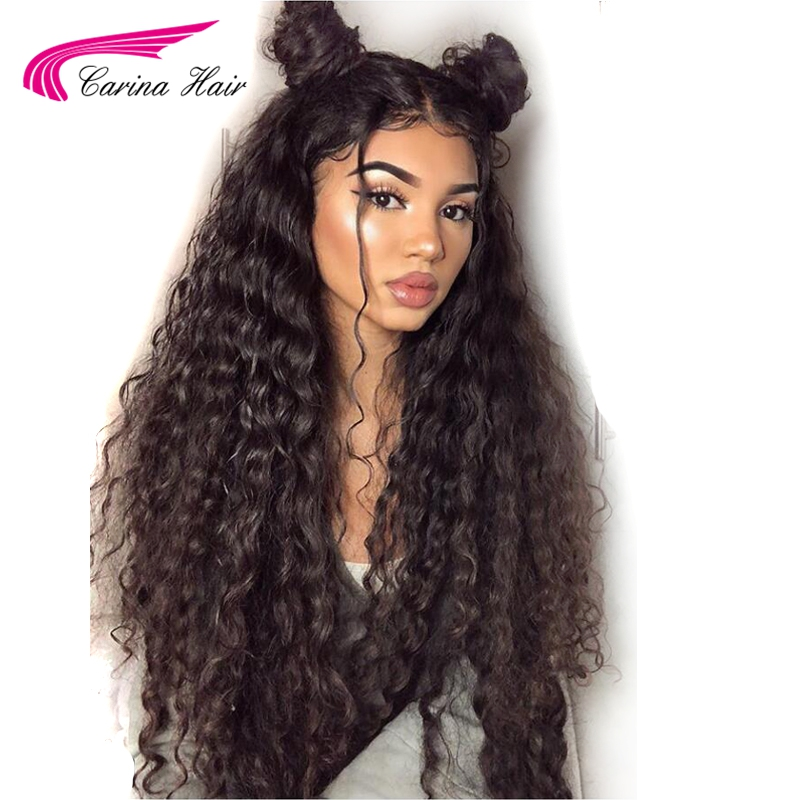 Carina Brazilian Kinky Curly 360 Lace Front Hair Wigs with Baby Hair Free Part Pre Plucked Hairline Remy Human Hair Wigs ...