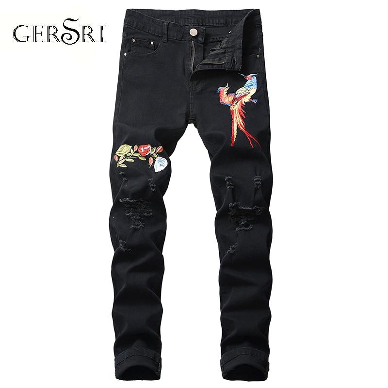 Gersri Casual Fashion Men's Autumn Denim Cotton Straight Bird Printed Trousers Distressed Jeans Pants Men Pants Jean