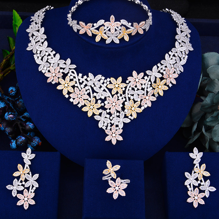 GODKI Trendy Luxury Flowers African Necklace Earring Set Jewelry Sets For Women Wedding Zircon CZ Dubai Bridal jewelry Set 2019GODKI Trendy Luxury Flowers African Necklace Earring Set Jewelry Sets For Women Wedding Zircon CZ Dubai Bridal jewelry Set 2019