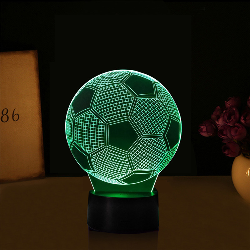 1pcs Creative 7 colors Football Touch Table Lamp 3D Visual Night Light Soccer Luminaria USB Football Lamp with remote control italia inter fc fans milan 3d soccer lamp juventus club 7 colorful football night light best gifts for kids dad friends dropship