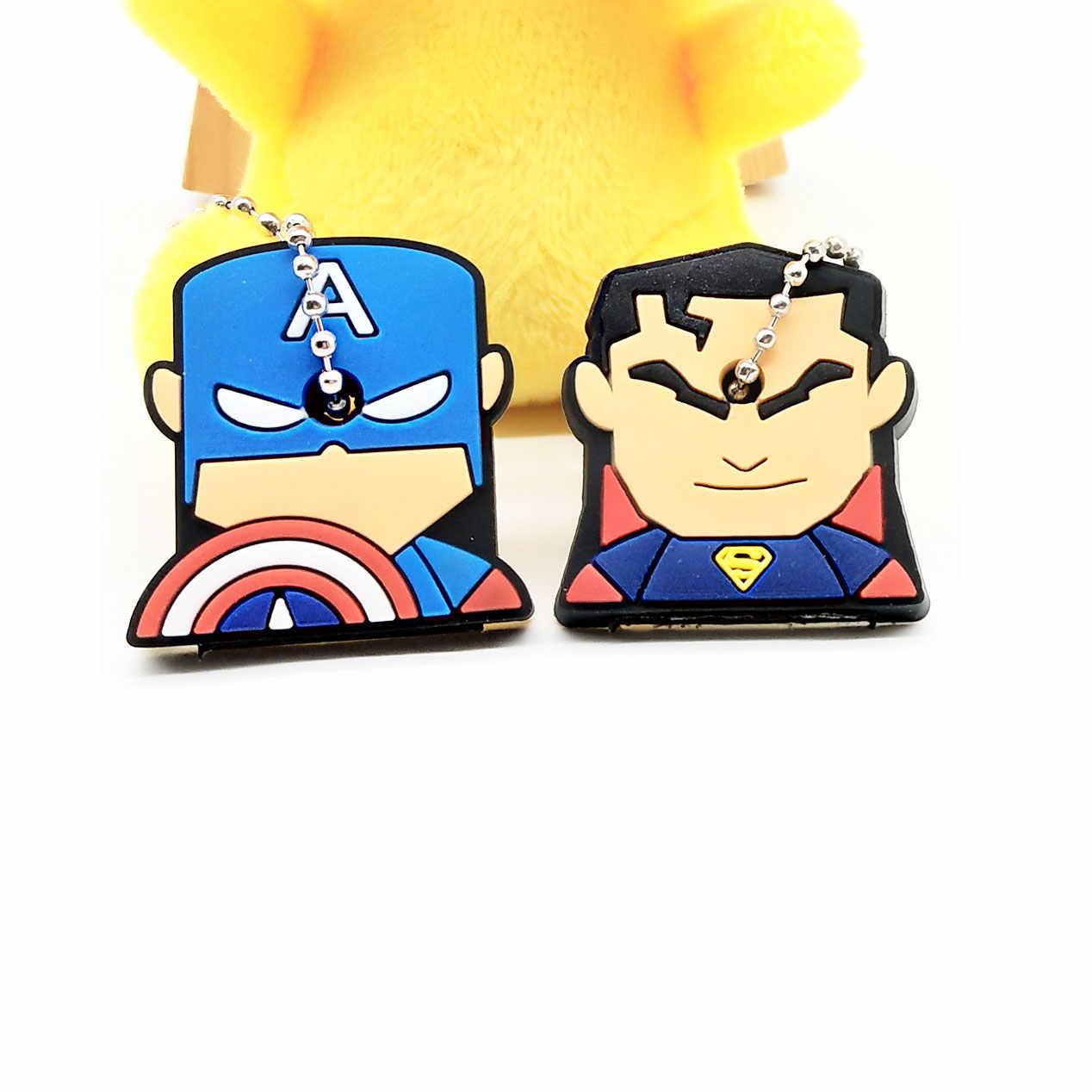 2 PCS Dos Desenhos Animados Anime Tampa Chave Bonito mickey ponto Urso Chaveiro Silicone super hero porte clef cap minne chave proteger