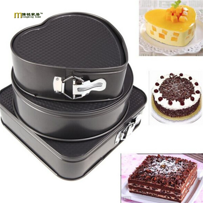 3PCS LOT Square Round Heart Diy Baking Mold Non stick Carbon Steel False Bottom Cake Mold