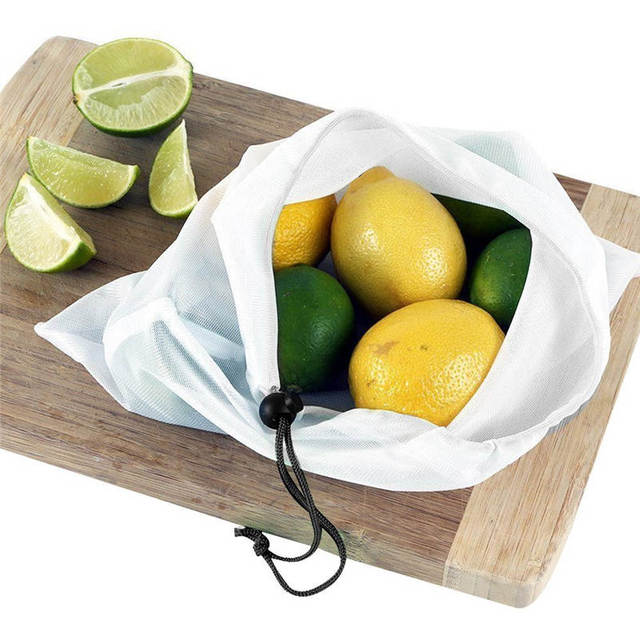 12 Pcs Set Reusable Produce Bags Black Rope Mesh Storage Vegetable Fruit