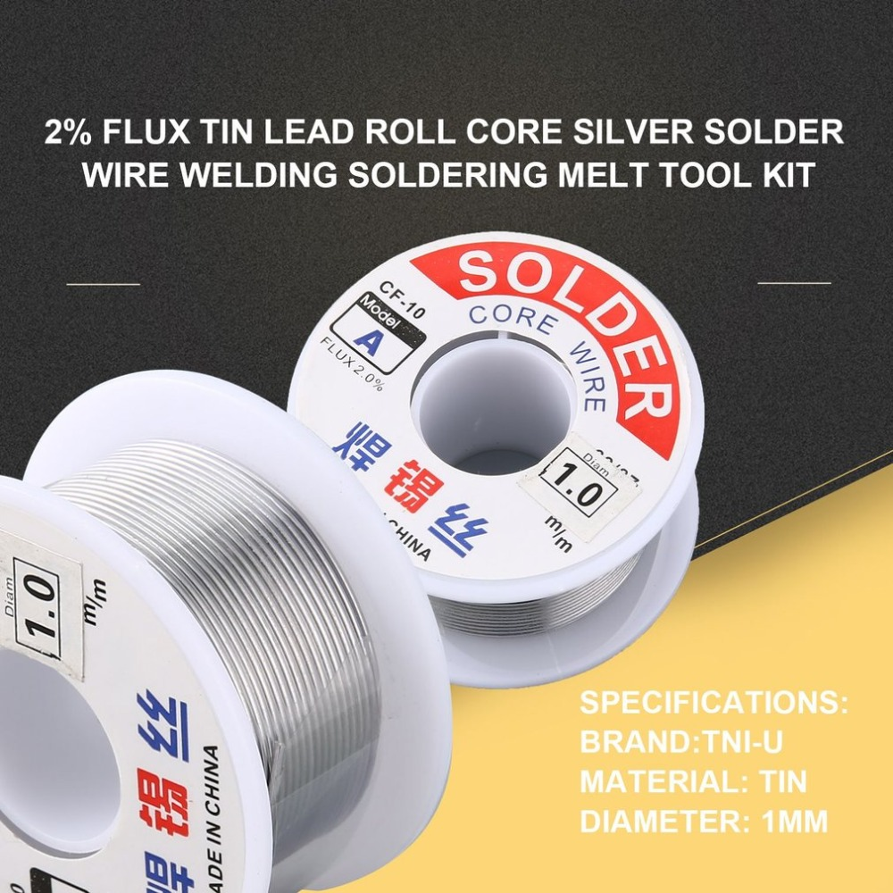 1.0/1.2mm 2% Flux Tin Lead Rosin Roll Core Silver Solder Wire Welding Soldering Repairing Tool Reel Melt Kit Electric Melting