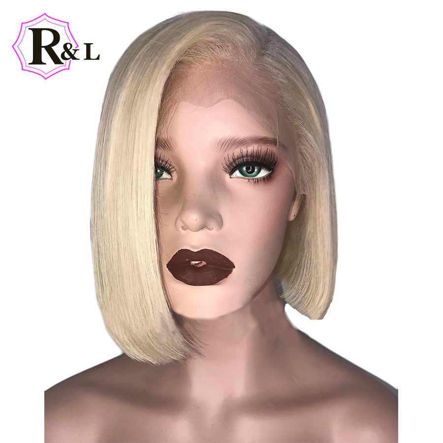 Rulinda #613 Short Bob Lace Front Human Hair Wigs Side Part 13*4 Blonde Brazilian Remy Hair Lace Wigs Pre Plucked bleached Knots-in Human Hair Lace Wigs from Hair Extensions & Wigs